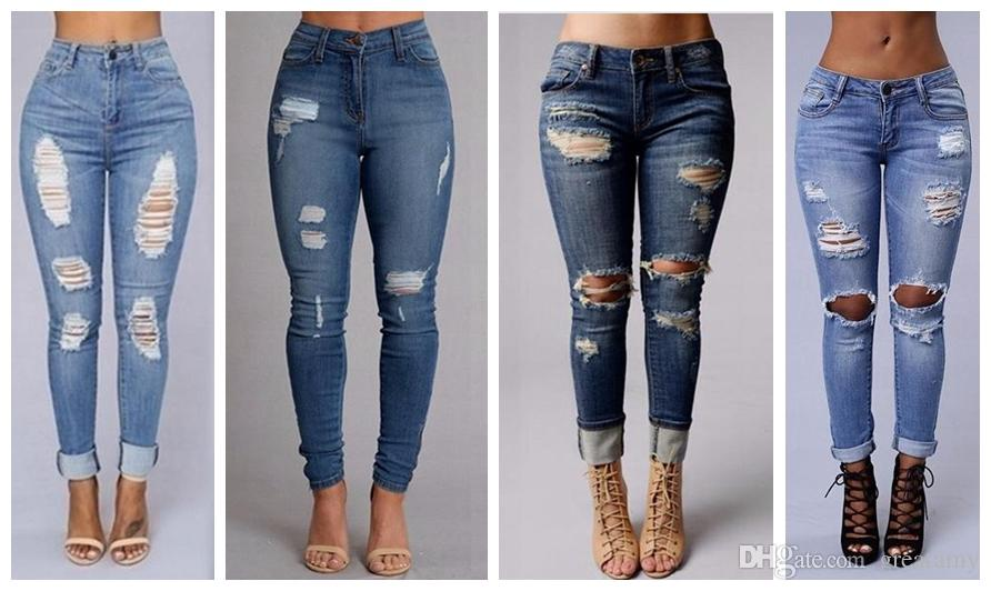 Women S Fashion Sexy High Waist Pencil Jeans Casual Blue Ripped Denim Pants  Lady Long Skinny Slim Maxi Jeans Trousers Skinny Jeans Kids Boys Jeans For  Girl ... 22842c593