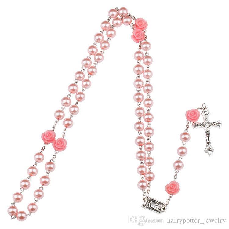 3 ألوان الكاثوليكية الوردية مادونا يسوع الصليب قلادة المعلقات اللؤلؤ الخرزة سلسلة الأزياء الإيمان مجوهرات للنساء هبوط السفينة