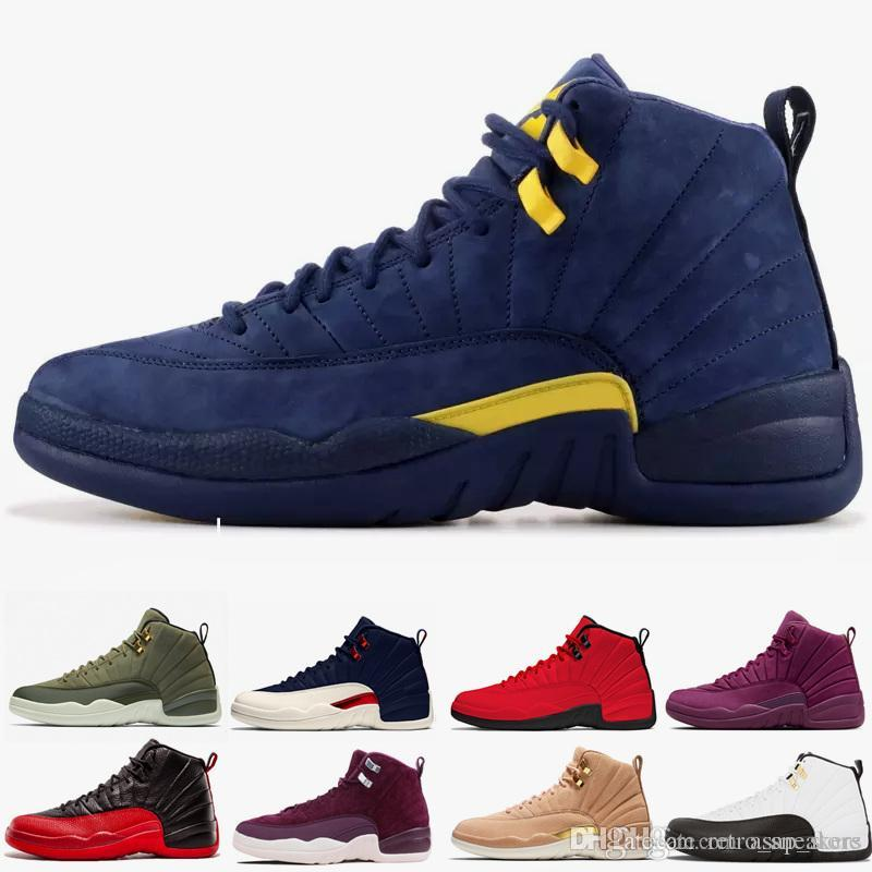 buy popular fd9fc 7aa59 Michigan 12 Vachetta Tan 12s College Navy Men Basketball Shoes Bulls UNC  Flu Game The Master Black White Taxi Sports Sneakers Size 40 47 Jordans  Running ...