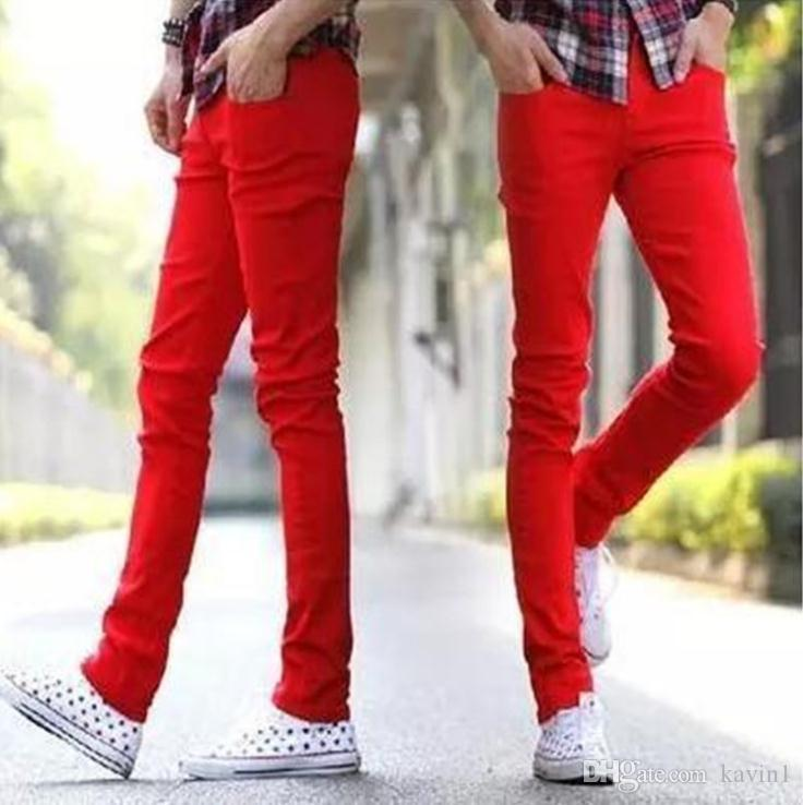 d619c6cde9 2019 NEW 2018 Indoor Jeans Men S Pants Red Male Leisure Long Pencil Pants  Cotton Jeans Homme Skinny Denim Overalls Men Teenage From Kavin1