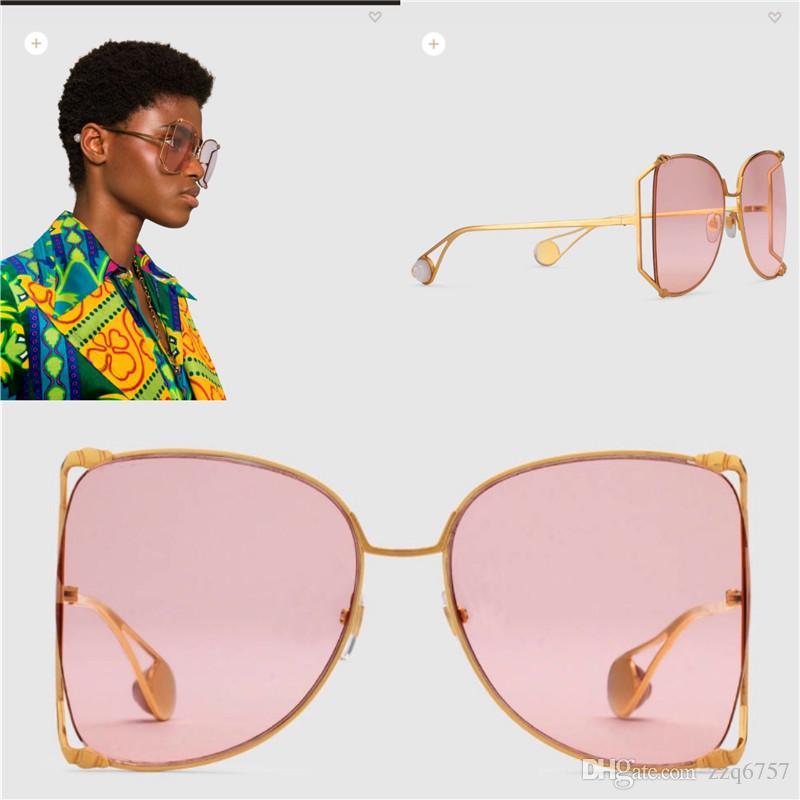 b71a395a3 Compre Novo Designer De Moda Óculos De Sol 0252 Grande Quadro Redondo Oco  De Metal Quadro De Qualidade Superior Luz Colorido Decorativo Óculos De Sol  Estilo ...