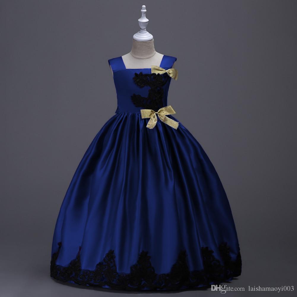 Children's Dresses Elegant Girl Lace Clothes Teenager Girls Prom Evening Party Graduation Kids Communion Gown Infant Vestido 14T