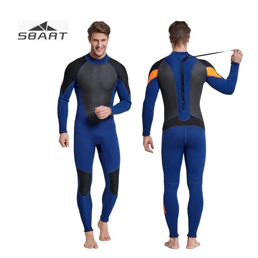 4cf4dc8998 SBART Men 3mm Neoprene Winter Warm Wetsuit Patchwork Surf ...