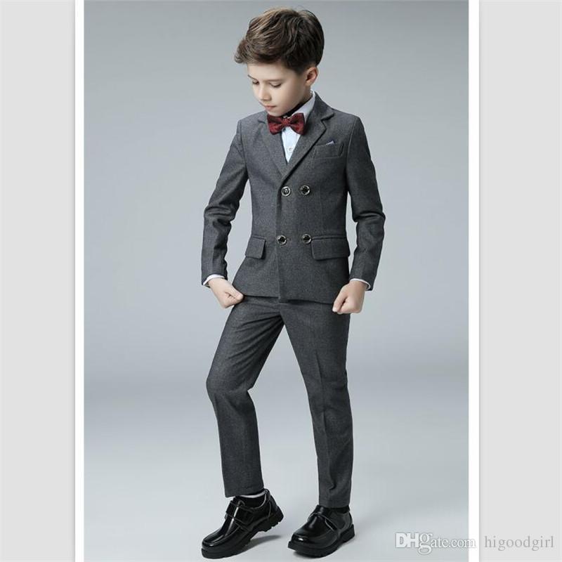2018 Custom Made Gray Long Sleeve Boys Prom Tuxedos Suits Double