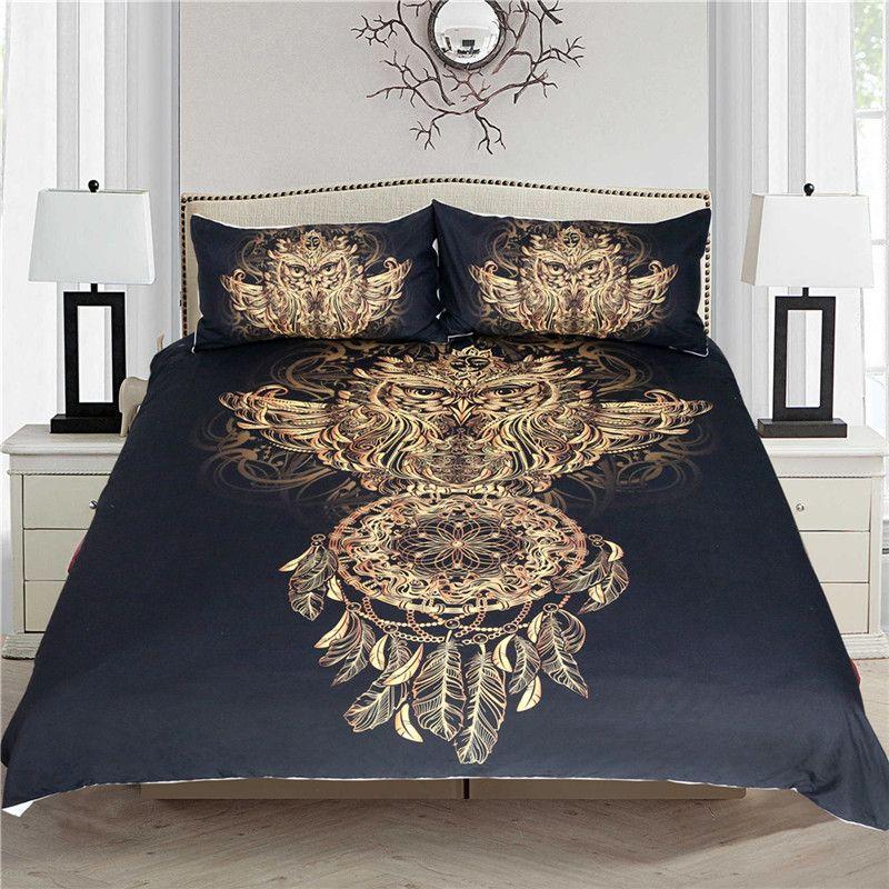 Golden Owl Bedding Set Luxury Dreamcatcher Print Black 3d Animal
