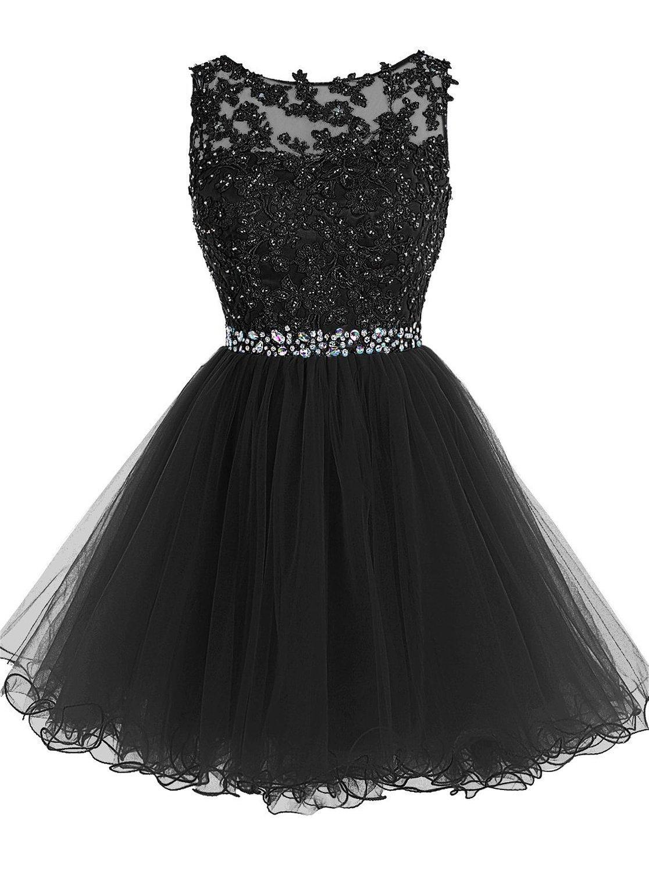 Dulce 16 cortos vestidos de fiesta apliques de encaje con cuentas de cristal Puffy Tul Vestidos de fiesta de cóctel Little Black Graduation Homecoming Vestidos