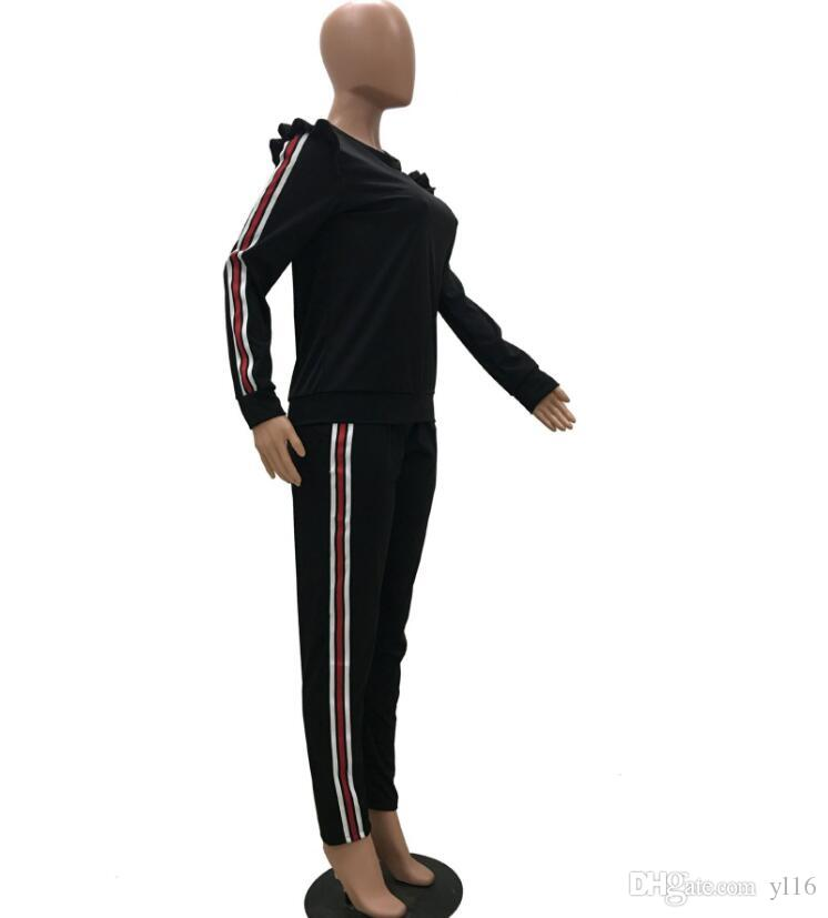 2018 PINK Ribbon stitching Auricular shoulder suit, Long sleeves + trousers vetements kanye west fear of god ripndip clothing y3