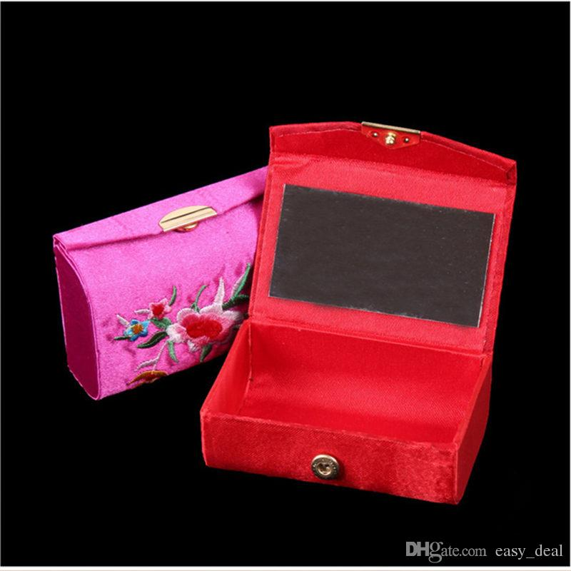Mirrored Silk Brocade Craft Box Travel Jewelry Case Empty Double Lipstick Storage Boxes Makeup Organizer F20173454