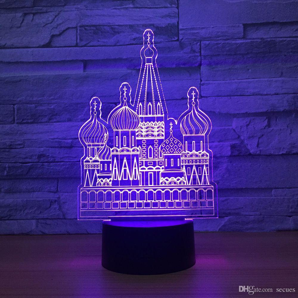 Russian Castle 3D Optical Illusion Lamp Night Light DC 5V USB Powered AA Battery Wholesale Dropshipping