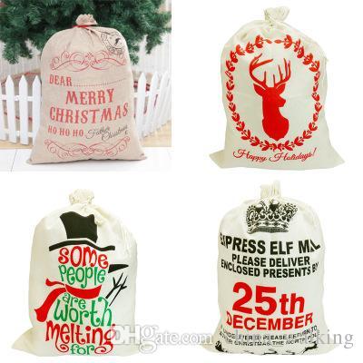 Linen Christmas Gift Bag Gift Drawstring Bags Santa Claus Sack Bags With  Reindeers Monogramable December 25th Christmas Gift Bag Gift Drawstring Bags  Santa ... 5c7ef4e976d85