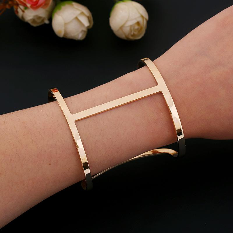 Dicaylun Frauen Edelstahl Armreif C Manschette Armreifen Silber öffnen Armband T Charms T Armband Armbänder & Armreifen