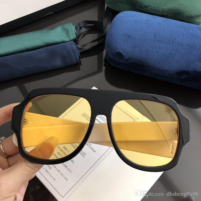 c748917faf Compre 0255s Marca Cabeza Cuadrada Gafas De Sol Hombres Amarillos Moda De  Lujo Diseñador Vintage Acetato Marco Mujeres De Calidad Superior Protección  Uv ...