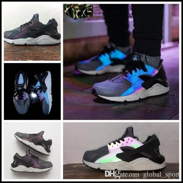 more photos 0e3b6 74331 2018 Air Huarache Run Premium Chameleon 3M Reflective Running Shoes Men  Women Sneakers Huaraches Trainers huraches Sport Hurache Shoes 7-12