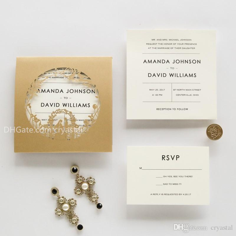 elegant gold laser cut wedding invites invatation card flowers