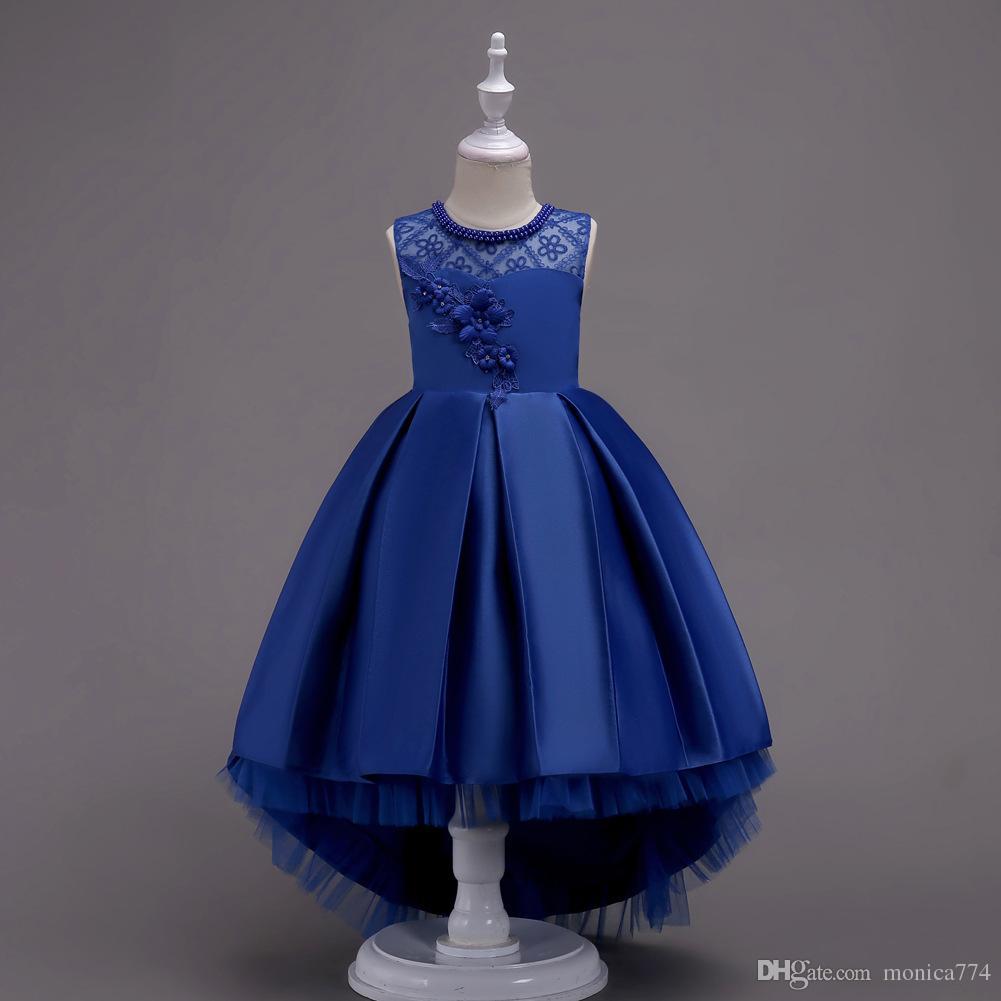 38d8689d0 Navy Blue Lace Flower Girl Dresses | Saddha