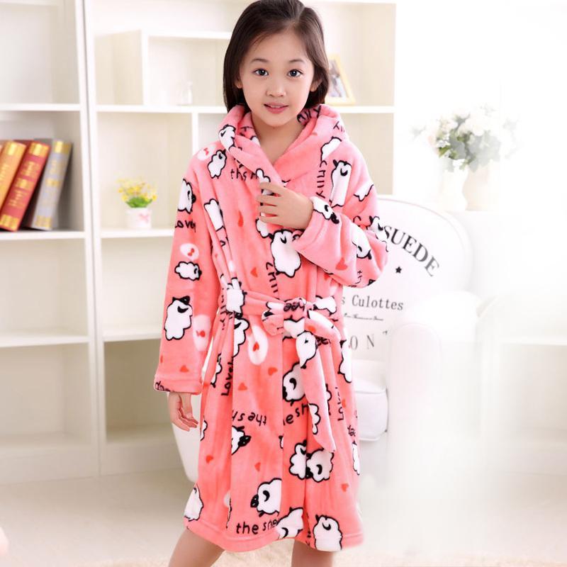78a510283 Thicken Big Girls Cartoon Lengthened Children S Bathrobes Printing ...