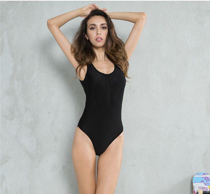 7f4426e85c 2019 2018 High Waist Women One Piece Slimming Bathing Suit Swimwear Zipper  Sexy Black Trangle Bikini For Beach Sunbathing Swimming From Buyeverywhere,  ...