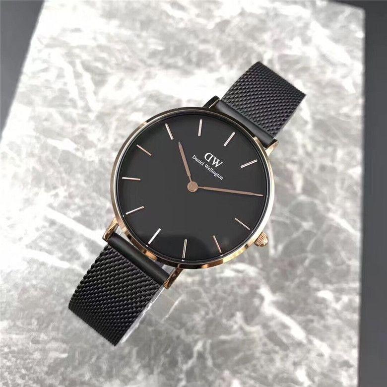 New Fashion Girls Tira de acero y cuero Daniel W- relojes de 32 mm para mujer Reloj de cuarzo de lujo Relogio Feminino Montre Femme