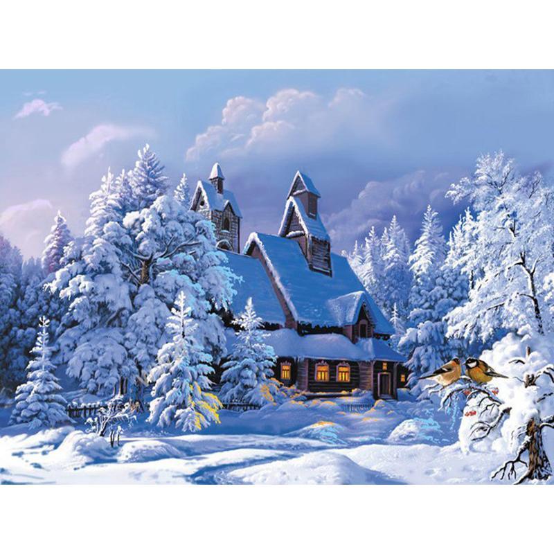 Großhandel Rahmenlose Weihnachten Schnee Haus Landschaft Diy Malen ...