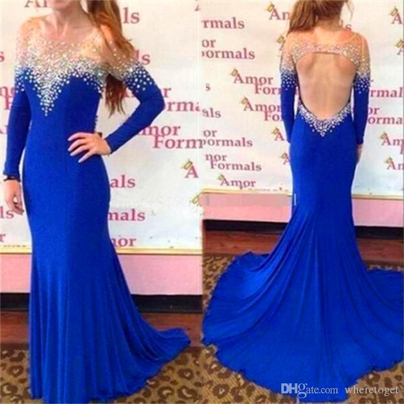 Royal Blue Crystal African Evening Dress Middle East Saudi Arabia Open Back Formal  Gowns Wed Guest Women Dress Fashion New Designe Sexy Evening Dress Silver  ... 0bb21f06ef40