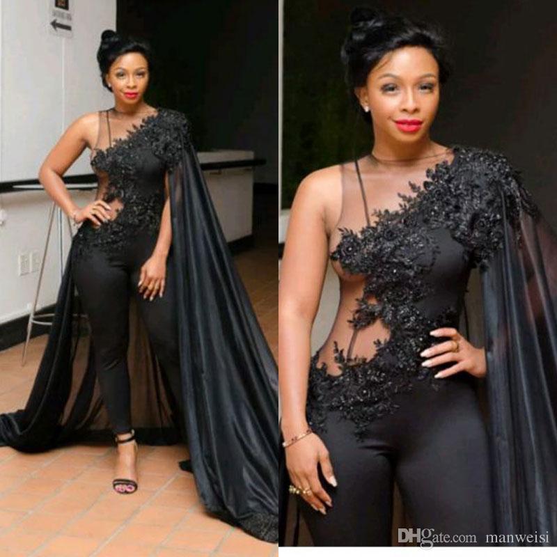 2019 Sexy Black Sumpsuits Vestidos de noche de noche con envoltura Sudáfrica Árabe Lace Apliques PRIGHT BEADS Beads Plus Tamaño Vestido formal