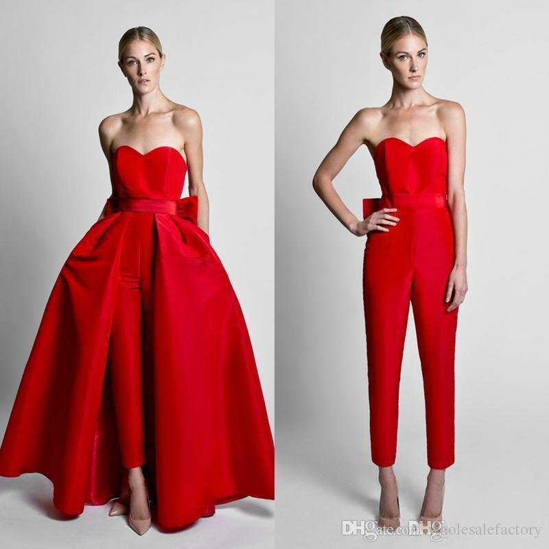 Krikor Jabotian Red Jumpsuits Bow Sash Evening Dresses With Detachable Skirt Sweetheart Floor Length Formal Party Prom Gowns Pants