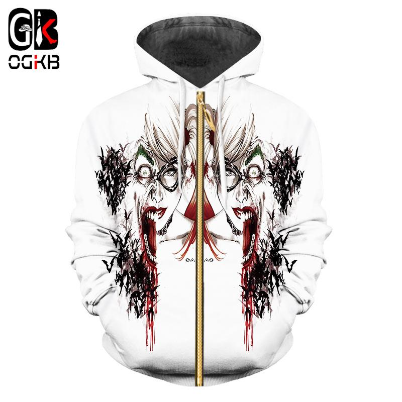 0693f07cdd3f 2019 OGKB New Fashion Couples Unisex Movie Suicide Squad Joker Harley Quinn  3d Printed Zipper Zip Up Hoodies Funny Casual Sweatshirt From Ingridea