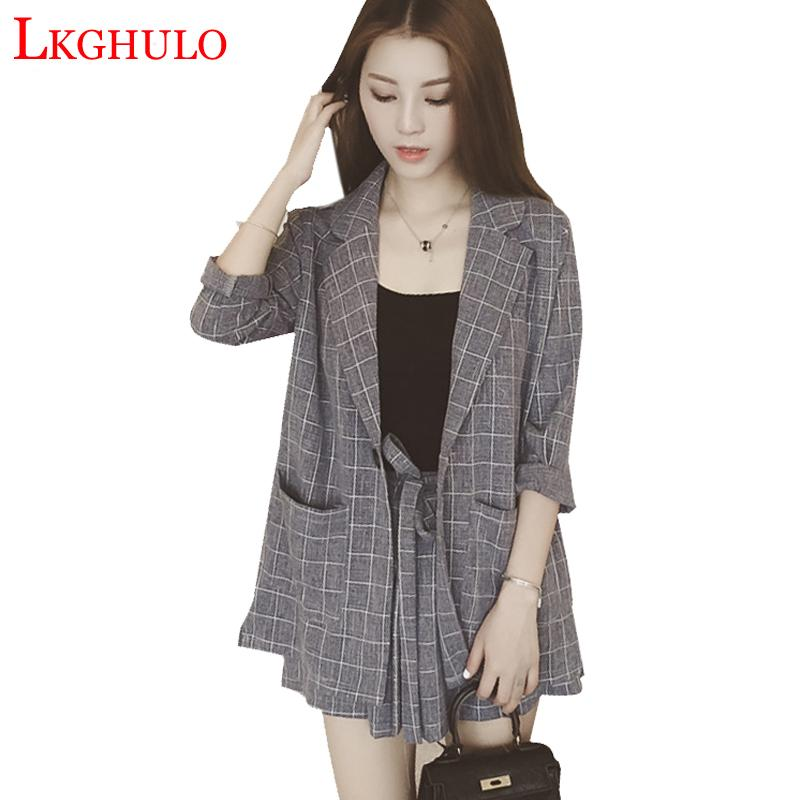 88adcc83dc845 2019 2018 Work Wear Short Pants Suit Women Summer Autumn Long Sleeved  Blazer With Shorts OL Office Ladies Formal Suits Gray BlackA471 From  Dalivid, ...