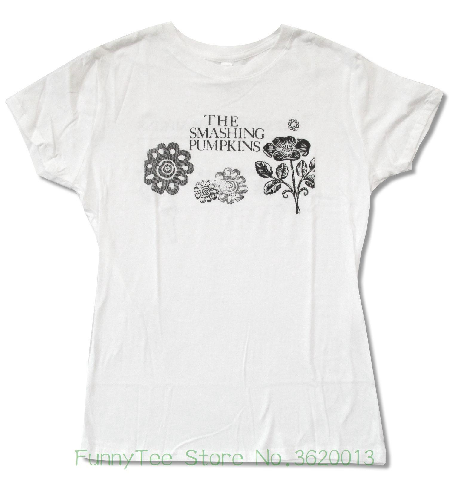 Women S Tee Smashing Pumpkins Flowers Juniors Girls White T Shirt New  Official Juniors Printing O Neck Funny Clever T Shirts Best Sites For T  Shirts From ... 4d19b6f8533