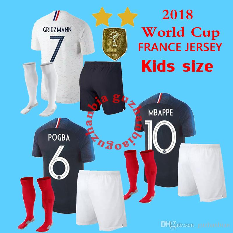 c7091ed88 2019 New 2018 World Cup Kids Champion Soccer Jerseys 18 19 POGBA PAYET  BENZEMA Griezmann Mbappé Football Jersey Kits Shirts Maillot De Foot From  Guzhanbiao