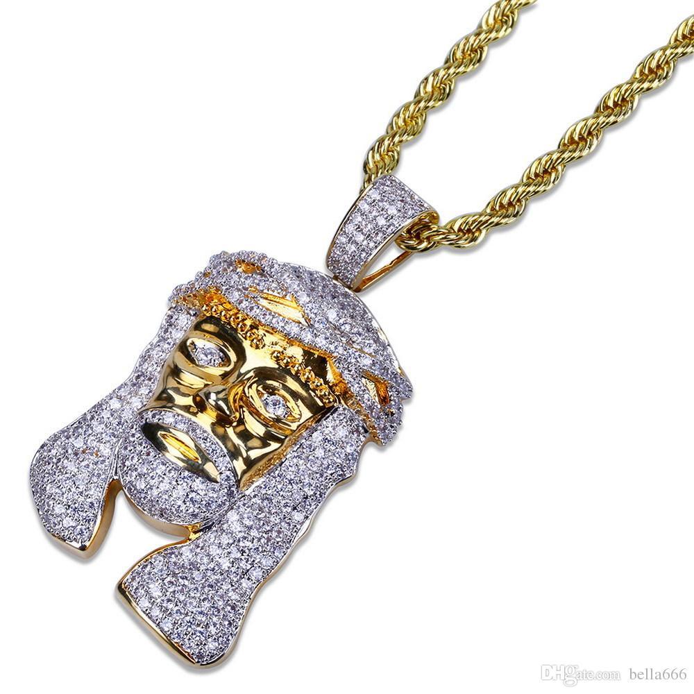 "Men's Hip Hop Cubic Zirconia Jesus Pendant Necklace Copper CZ Stones Pharaoh Head Pendants Necklaces Jewelry With 60"" Rope Chain 24inch"