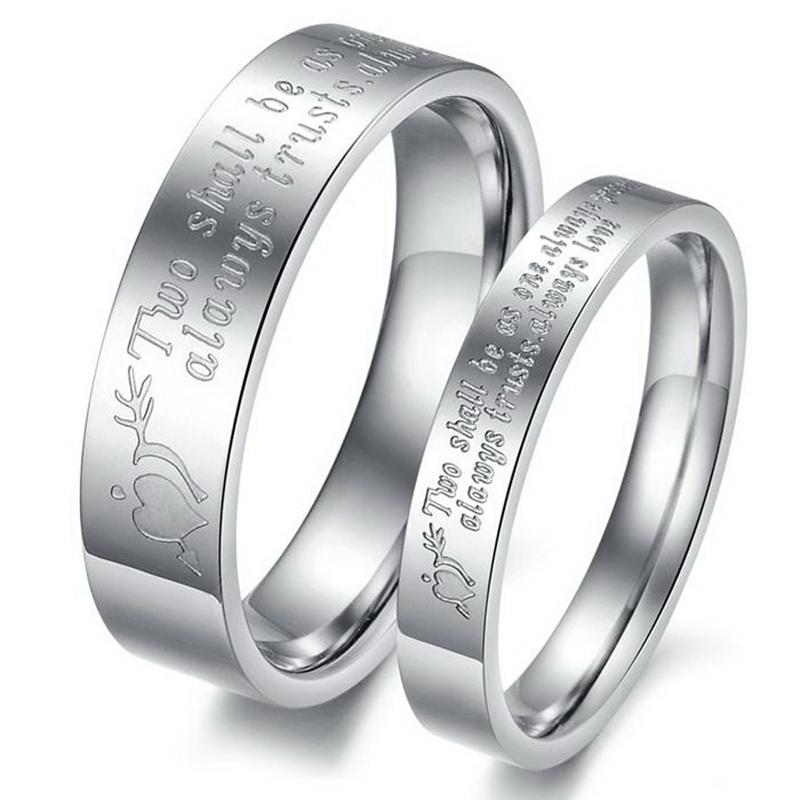 Low Price Promotion Engagement Couple Rings Stainless Steel Ring Set