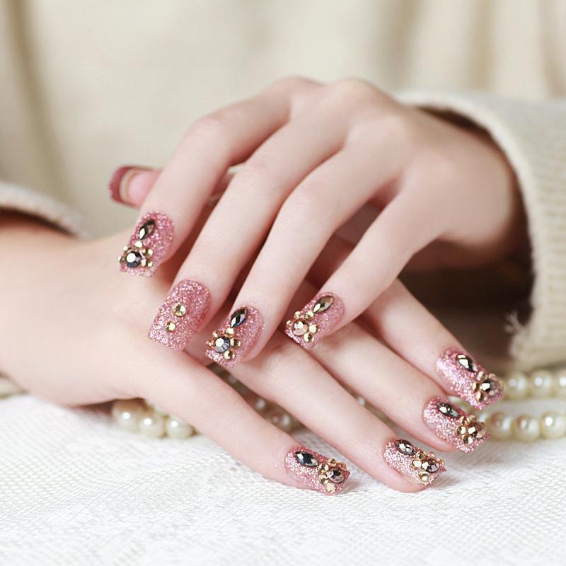 Pink Glitter False Nails 3d Rhinestone Full Cover Art Fake Nails