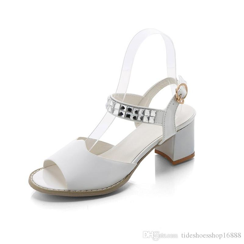 Nice New Block Rhinestones Patent Pelle scarpe Summer Sandalo Donna Block New   1492fc