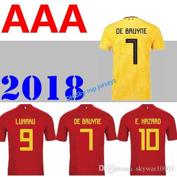 d978bb222 2019 Thail Quality 2018 World Cup Belgium Soccer Jersey 2018 Home Away LUKAKU  FELLAINI E.HAZARD KOMPANY DE BRUYNE 18 19 Belgium Football Shirt From ...