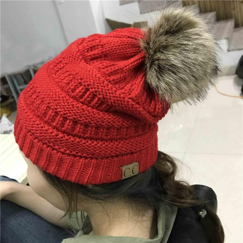 dbc56f53472 Woman Winter Hat Beanie Cc Faux Fur Pom Pom Ball For Hats Knitted Cap  Skully Warm Ski Hat Trendy Soft Brand Thick Female Caps Knit Hats Cheap Hats  From ...