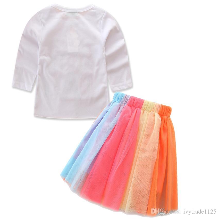 NEW girs tutu Birtyday dress Birthday Print T shirt + Rainbow Cake Skirt summer girl's set causal girl Rainbow Birthday sets kids girl dress