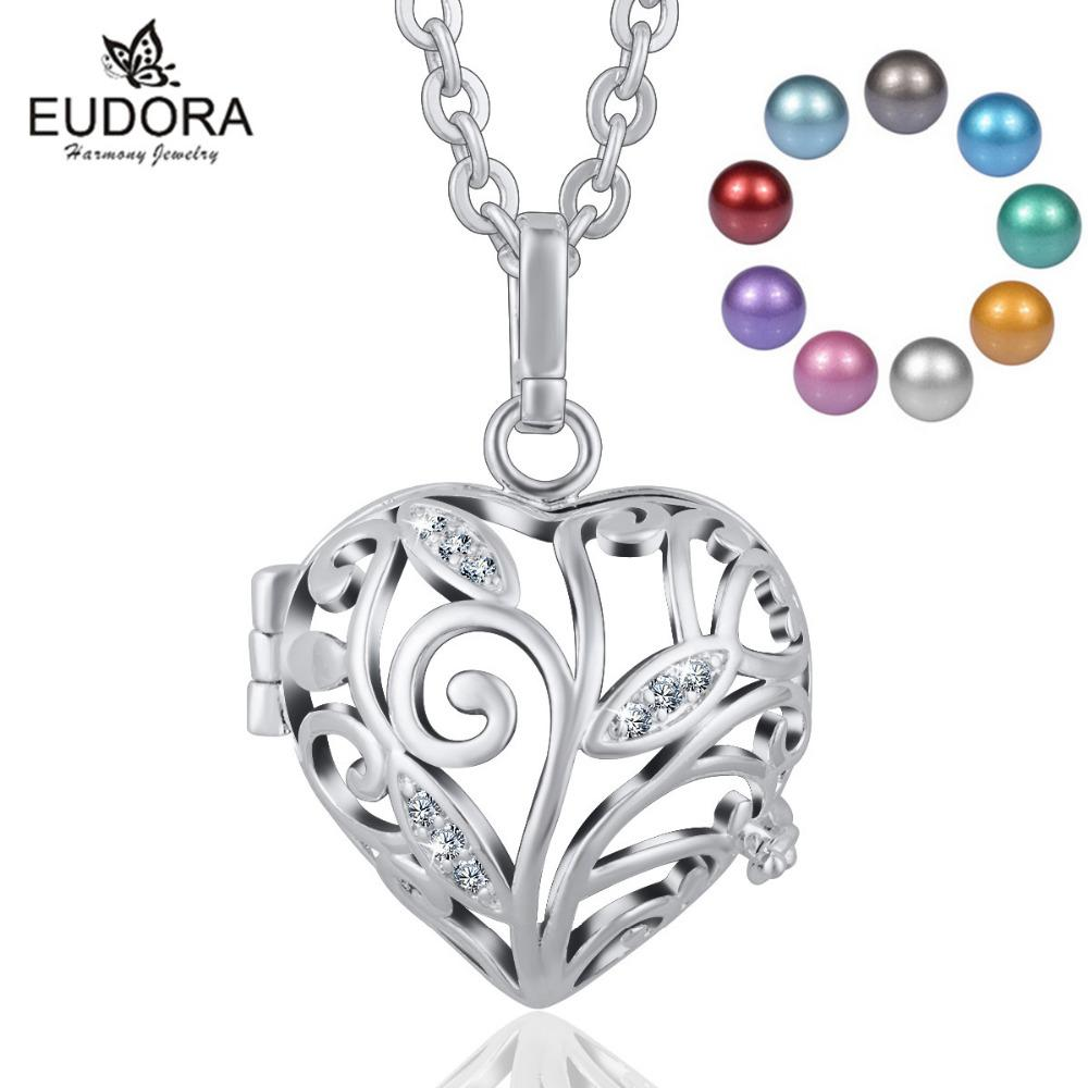 18mm Harmony Bola Angel Giving Tree Crystal Locket Cage Pendant Necklace With Inner Chime Ball for Pregnancy Women Jewelry