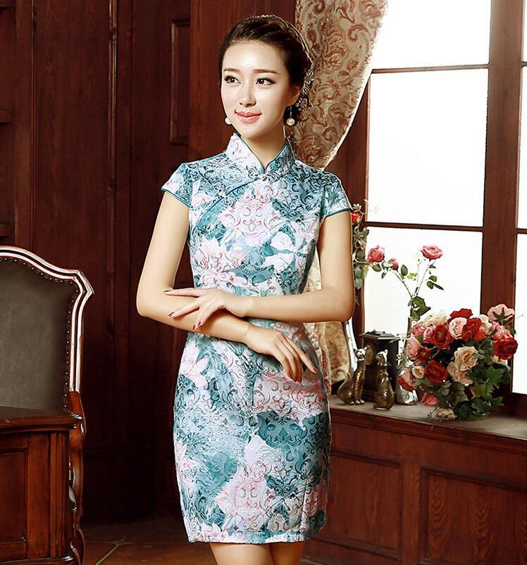 Fashion Short Sleeve Qipao Dress Vintage Chinese Style Restoring Cheongsam  Dresses Chinese Traditional Lady Cheongsams Ethnic Clothing Cheongsams  Chinese ... 3f35834a73e7