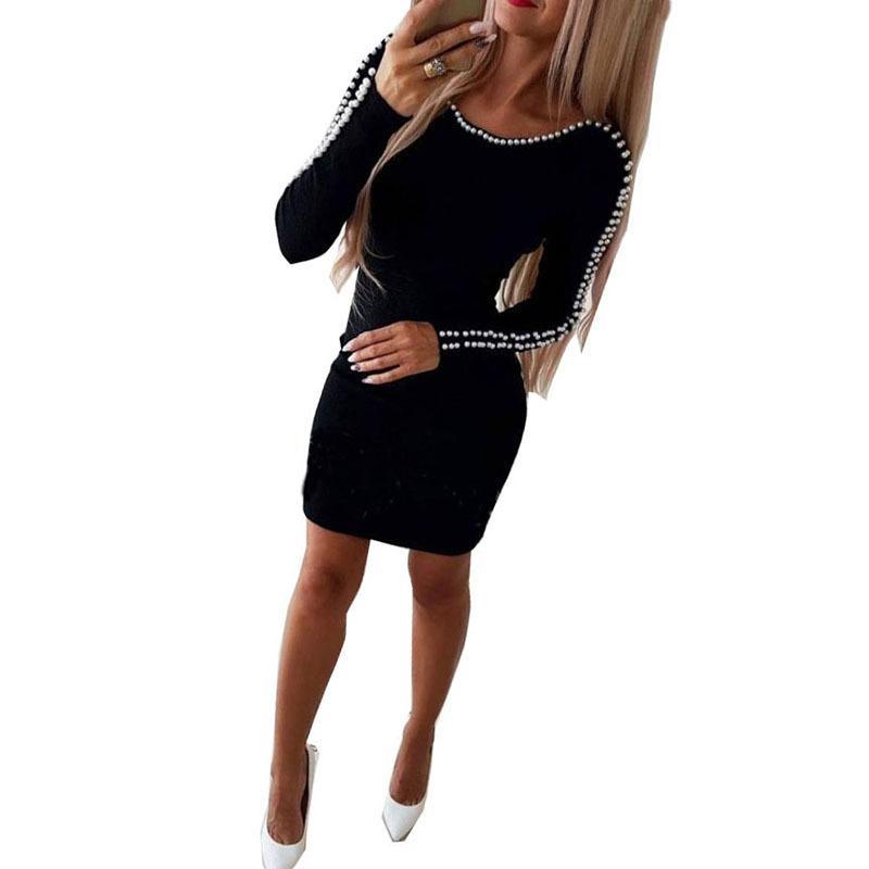 Trending Styles Elegant Pearl Beading Dress Long Sleeves Hip Package