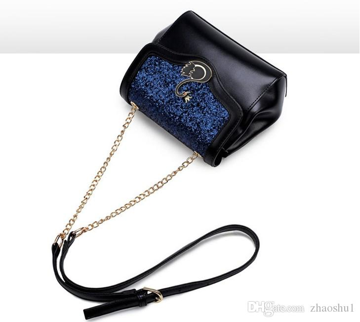 Swan chain single shoulder bag Korean PU fashion sequins slanting bag 2018 new style variety of collocation