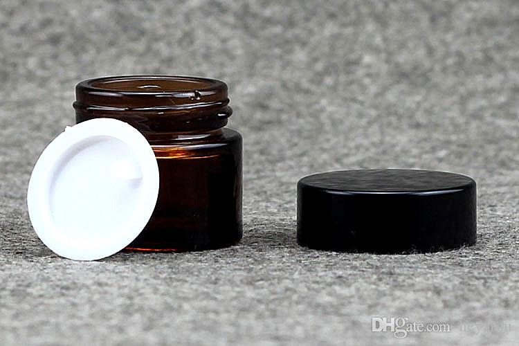 5g 10g 20g 30g 50g amber cosmetic glass jar with black cap for eye cream wax cosmetic glass jar black gold lid