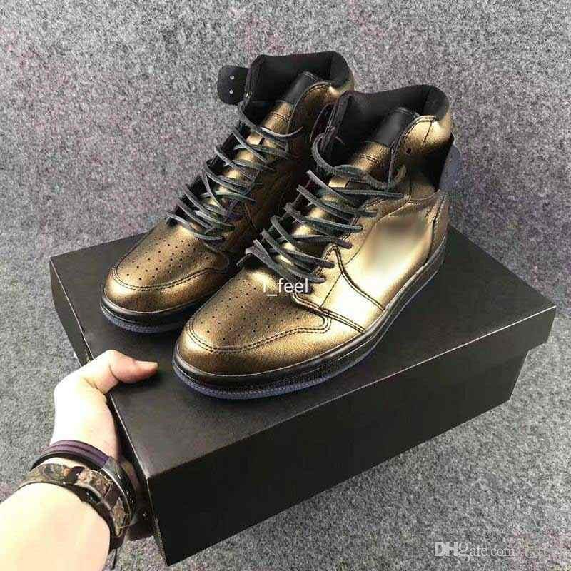 6bf4688ad5f Compre 2017 Air Retro 1 Wings Basketball Shoes Para Homens Mulheres Top  Quality Leather Gold Black Mens Sports Retros Sneakers Basket Shoes 36 44  De I feel