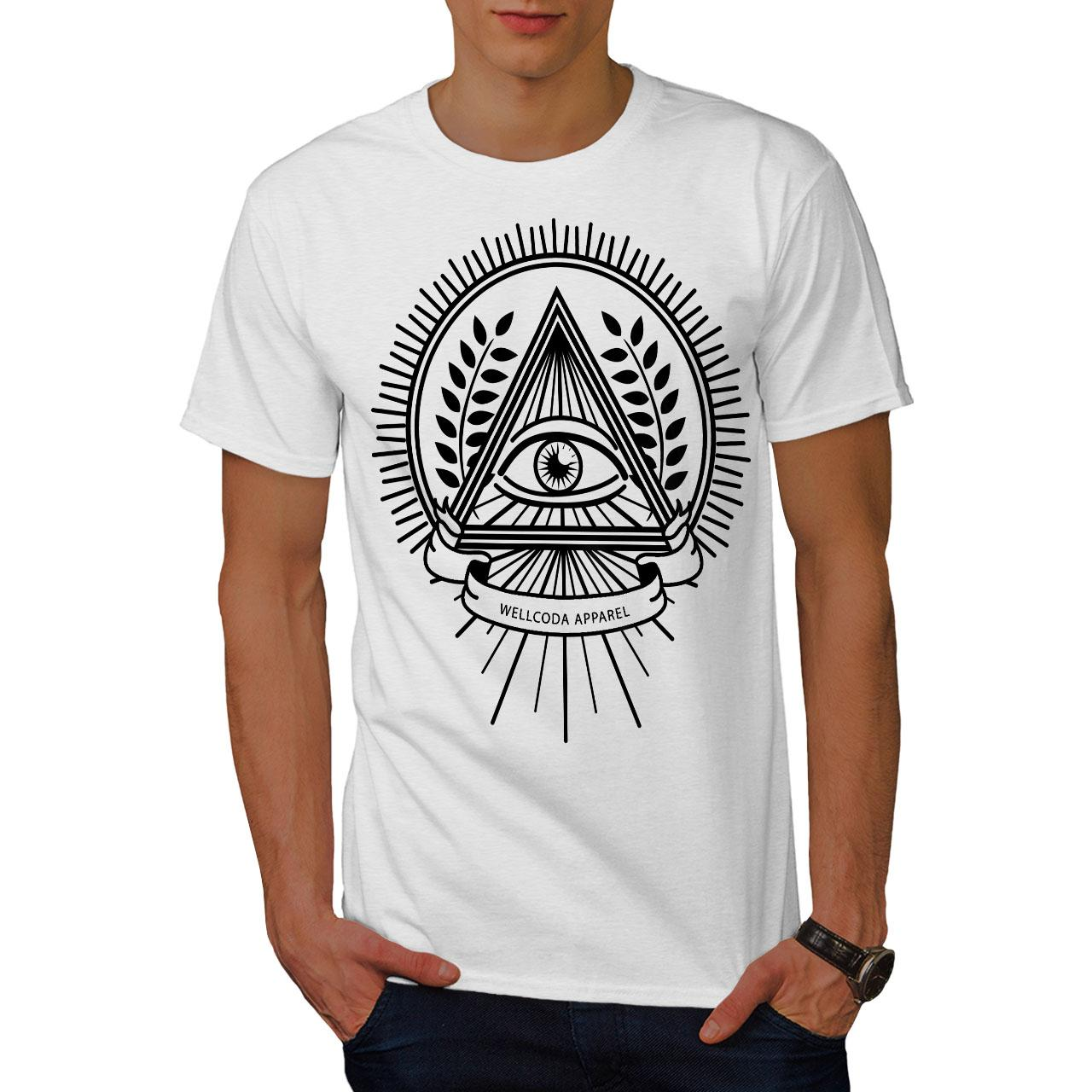 6ccd3574a2dc Wellcoda Illuminati Crest Mens T Shirt, The Eye Graphic Design Printed Tee  2018 Funny Tee 100% Cotton Cool Cute T Shirts Man Funny Slogan T Shirts  Cool ...