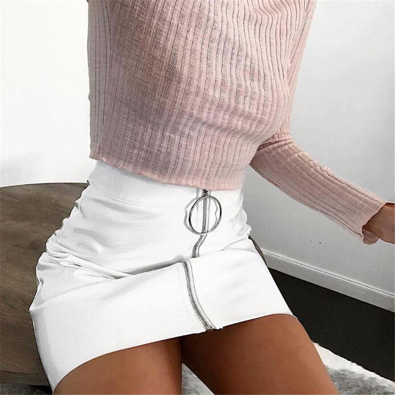 42b216f9edcb12 Sexy Femmes De Mode Taille Haute Zip Faux En Cuir Court Crayon Moulante  Mini Jupe 2018 Nouveau Solide Blanc Jupe