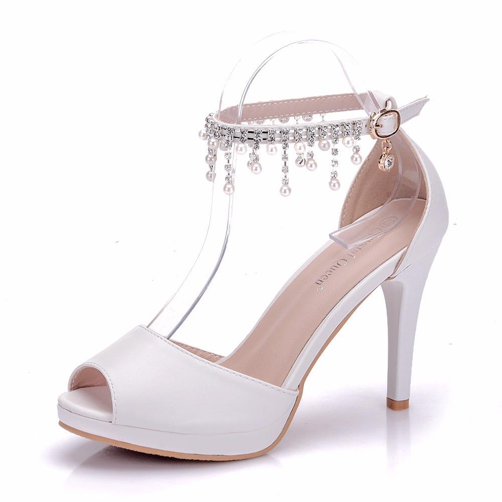 New Fashionl Beading peep toe shoes for women heels white Word buckle wedding shoes thin heels shoes elegant Plus Size Bridal sandals