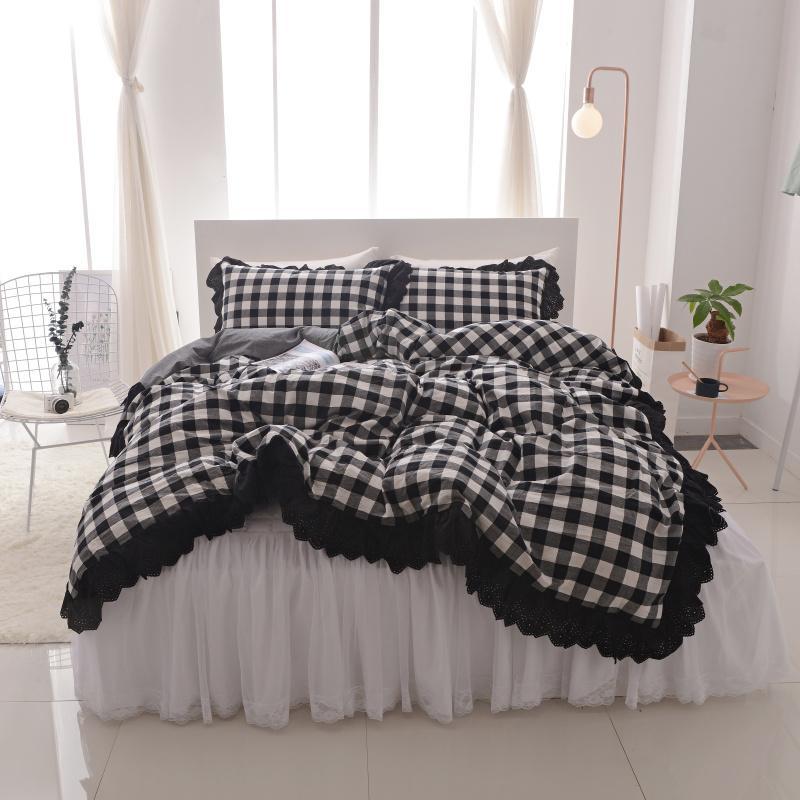 White Black Cotton Lace King Queen Twin Size Women Girls Bedding Set