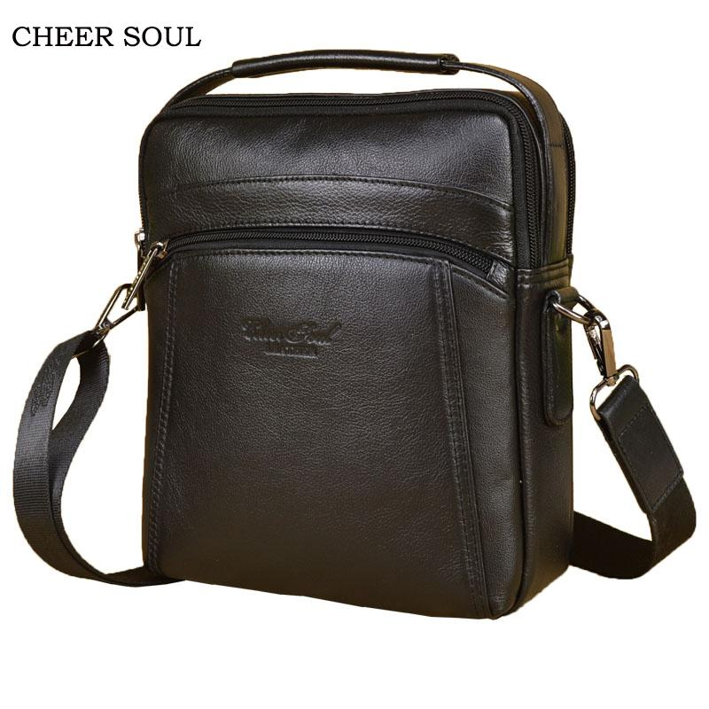 1a53779d0522 CHEER SOUL Genuine Leather Men Bags Male Cowhide Shoulder Crossbody Bags  Handbags Messenger Casual Business Mens Leather Bag Fiorelli Handbags  Patricia Nash ...