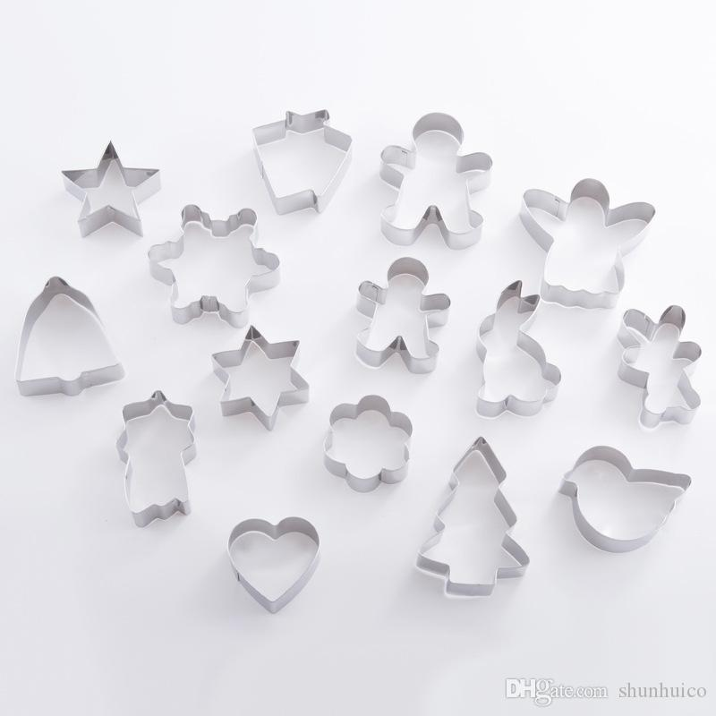 Christmas Cookie Cutter Mold Snowflack Shape Stainless Steel Cookie Moulds Baking Tools 15pcs set