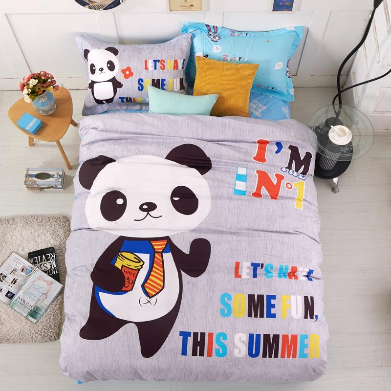 Cartoon Mr Panda Boys Bedding Set Twin Size Duvet Cover 100 Cotton